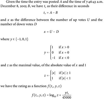 图2. reddit ranking algorithm [2]
